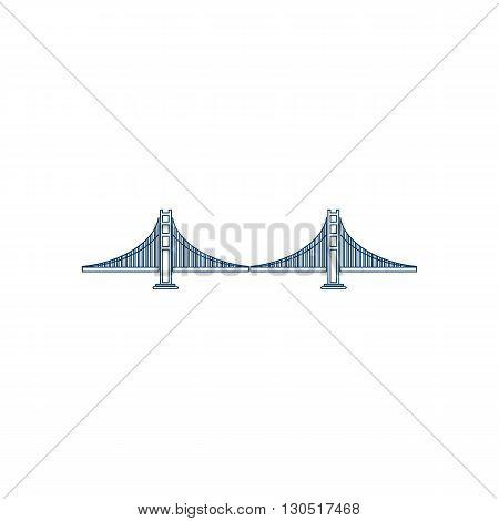 Blue San Francisco Golden Gate bridge symbol vector illustration isolated on white background.