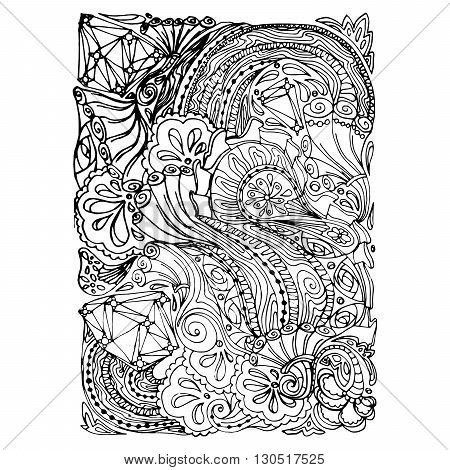 Monochrome Floral Pattern Vector. Hand Drawn Texture with Flowers. Can be used for coloring book page design, anti stress hobby for adult.Vector black and white illustration.