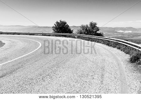 Asphalt Road on the Golan Heights in Israel Vintage Style Toned Picture