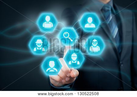 Human resources officer looking for (search) employees. Personnel agent click on loupe (magnifying glass) to find the best employee represented by icons: manager white collar worker programmer analyst farmer driver and manual worker.