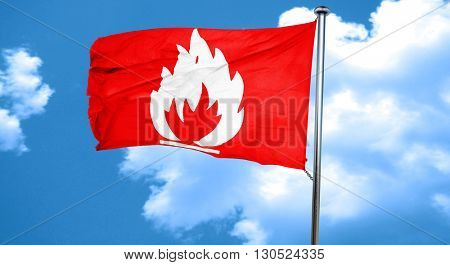 Flammable hazard sign, 3D rendering, a red waving flag