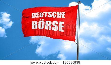 Deutsche borse, 3D rendering, a red waving flag