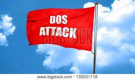 DOS warfare background, 3D rendering, a red waving flag