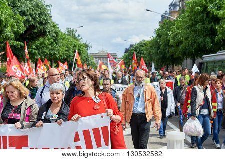 Avenue De La Liberte With Protestors