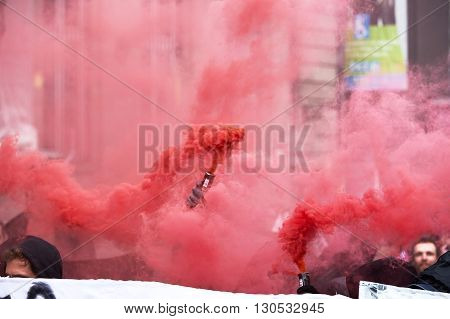 Smoke Grnades And Paint On Walls At Protest