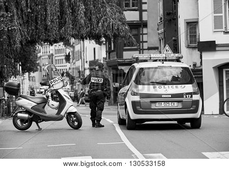 Police Officer Securing Road