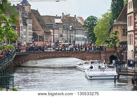 Protestors On Pont Du Corbeau