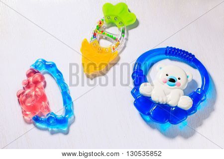 Set of teethers for a newborn baby