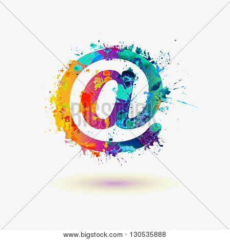 Vector Watercolor Email Symbol. At Sign
