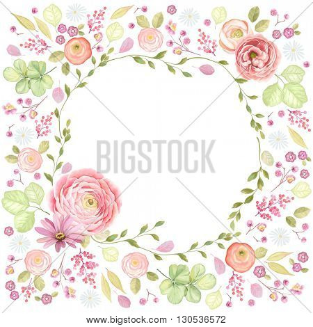 Square frame made of flowers and leaves with window, vector floral illustration with butterfly in vintage watercolor style.