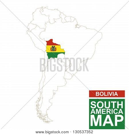 South America Contoured Map With Highlighted Bolivia.