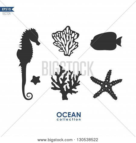 set of sea creatures isolated on white, vector silhouettes of seahorse, starfish, sea plants and corals
