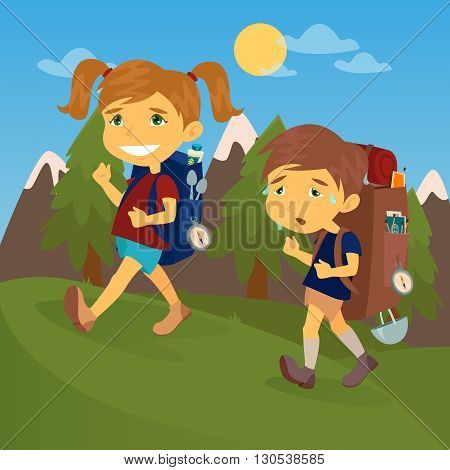 Children with Travel Backpacks. Boy and Girl Scout. Vector illustration