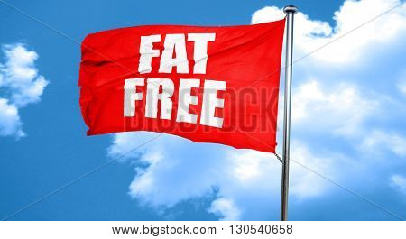 fat free, 3D rendering, a red waving flag