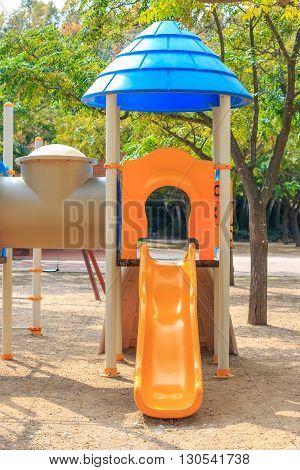 Closeup of slide at Сhildren's playground Multi - Unit
