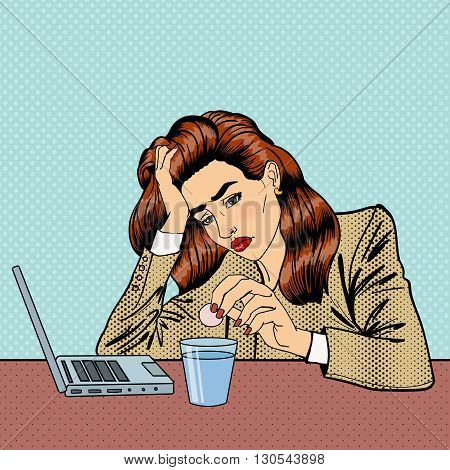Stress at Work. Businesswoman has a Headache. Pop Art Vector illustration