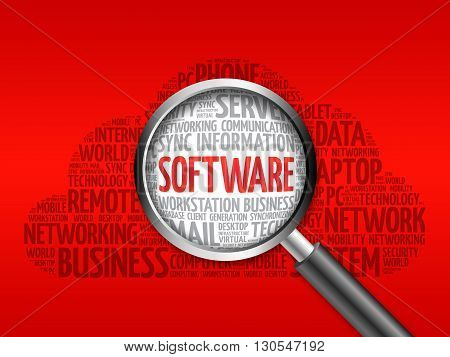 Software Word Cloud With Magnifying Glass