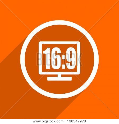16 9 display icon. Orange flat button. Web and mobile app design illustration