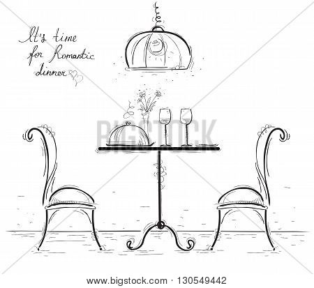 Romantic Dinner Sketchy  Illustration Isolated On White.