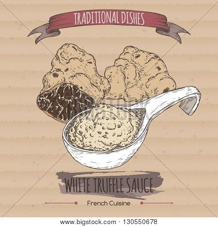 Color white truffle sauce sketch placed on cardboard background. French cuisine. Traditional dishes series. Great for restaurant, cafe, grocery stores, organic shops, food label design.