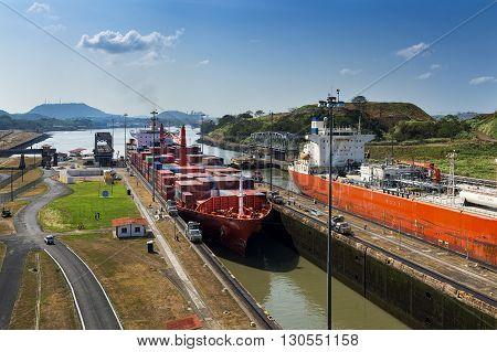 Miraflores Lock, Panama - March 17 2014: A Cargo Ship entering the Miraflores locks in the Panama Canal in Panama.