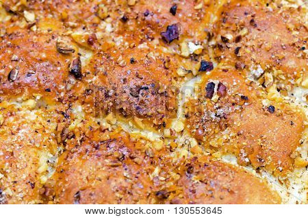 Close up of tasty buckwheat cake. This dish is similar to bread made from buckwheat.