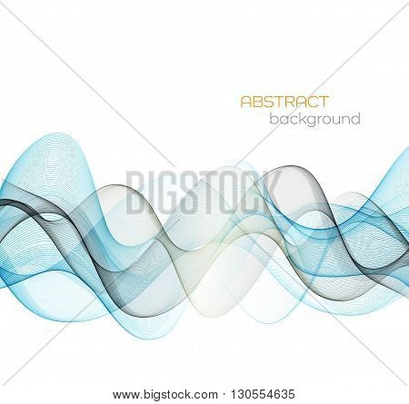 Abstract vector background, blue transparent waved lines for brochure, website, flyer design.  Blue and gray smoke wave. Blue wavy background