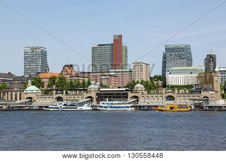 Hamburg, Germany - May 19, 2016: The St. Pauli Piers on the Elbe river, the largest landing place in the Port of Hamburg, and also one of Hamburg's major tourist attractions.