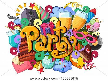 vector illustration of doodle on Party concept