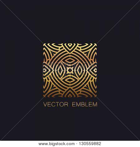 vector floral golden emblem. art-deco golden emblem. golden monogram sign. art-deco line art element for design