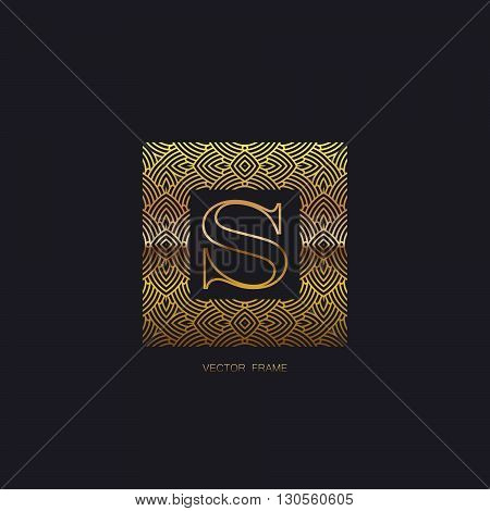 vector floral golden monogram. art-deco golden frame. golden monogram frame. art-deco line art element for design