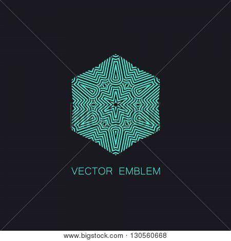 vector floral turquoise emblem. art-deco turquoise emblem. turquoise monogram sign. art-deco line art element for design