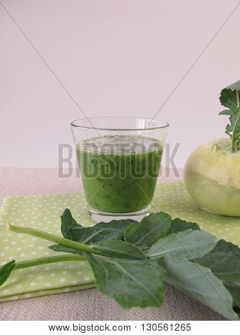 Green smoothie with german turnip and turnip leaves