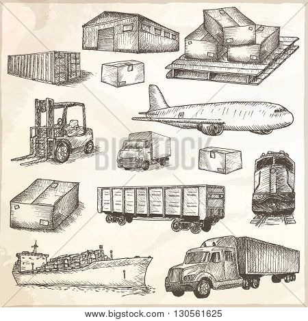 Logistics hand drawn isolated elements. Vector illustration.