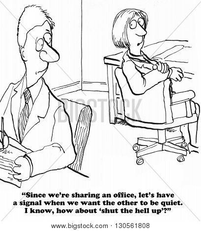 Business cartoon about working in a loud office.