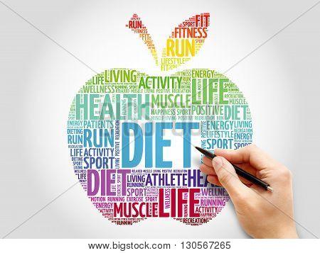 Diet apple word cloud concept, presentation background