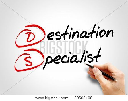 DS - Destination Specialist acronym business concept poster