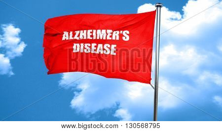 Alzheimer's disease background, 3D rendering, a red waving flag