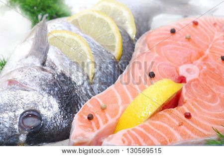 fillet salmon fish  with lemon freezing over white