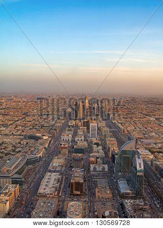 RIYADH - FEBRUARY 29: Aerial view of sunset over Riyadh downtown on February 29, 2016 in Riyadh, Saudi Arabia.