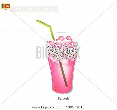 Sri Lankan Cuisine Falooda or Traditional Cold and Sweet Drink Made of Milk Rose Syrup Vermicelli Basil Seeds and Ice Cream. One of The Most Popular Drink in Sri Lanka.