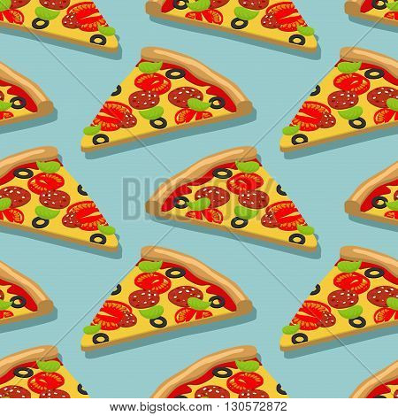 Isometric Pizza Seamless Pattern. Italian Food Texture. Delicious Fresh Slice Of Pizza Ingredients T