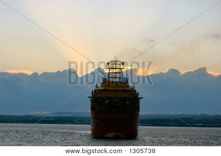 Ship In Suns Rays