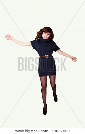 Mädchen springt mit Freude