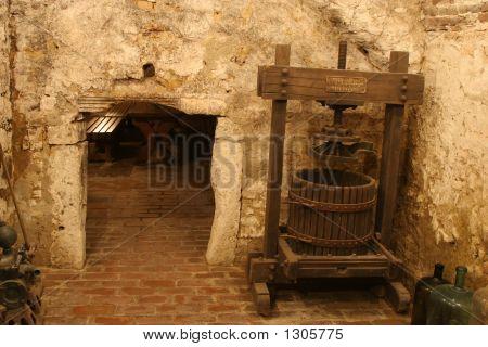 Press In Wine Cellar