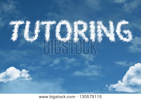 Tutoring cloud word with a blue sky