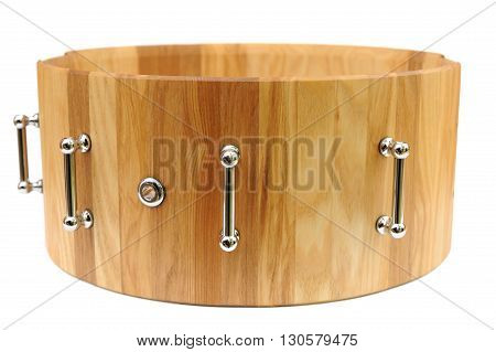 Wooden base for snare drum isolated closeup