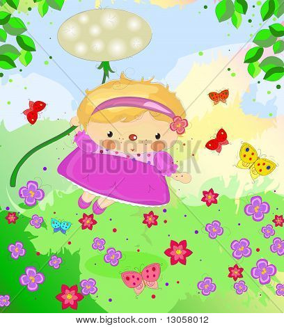 a little girl flying on a dandelion