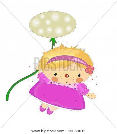 a girl flying on a dandelion