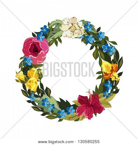O letter. Flower capital alphabet. Colorful font. Uppercase. Vector illustration. Grotesque style. Floral alphabet.
